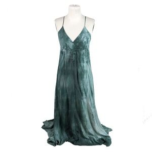 Gypsy 05 M Shibori Silk Maxi Dress Blue Green